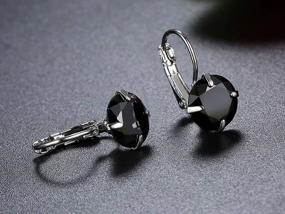Black Crystal Lever Back Everyday Earrings - Lunga Vita Designs