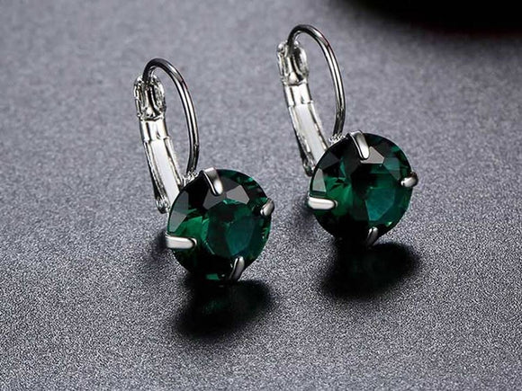 CRYSTAL LEVERBACK EARRINGS | GREEN