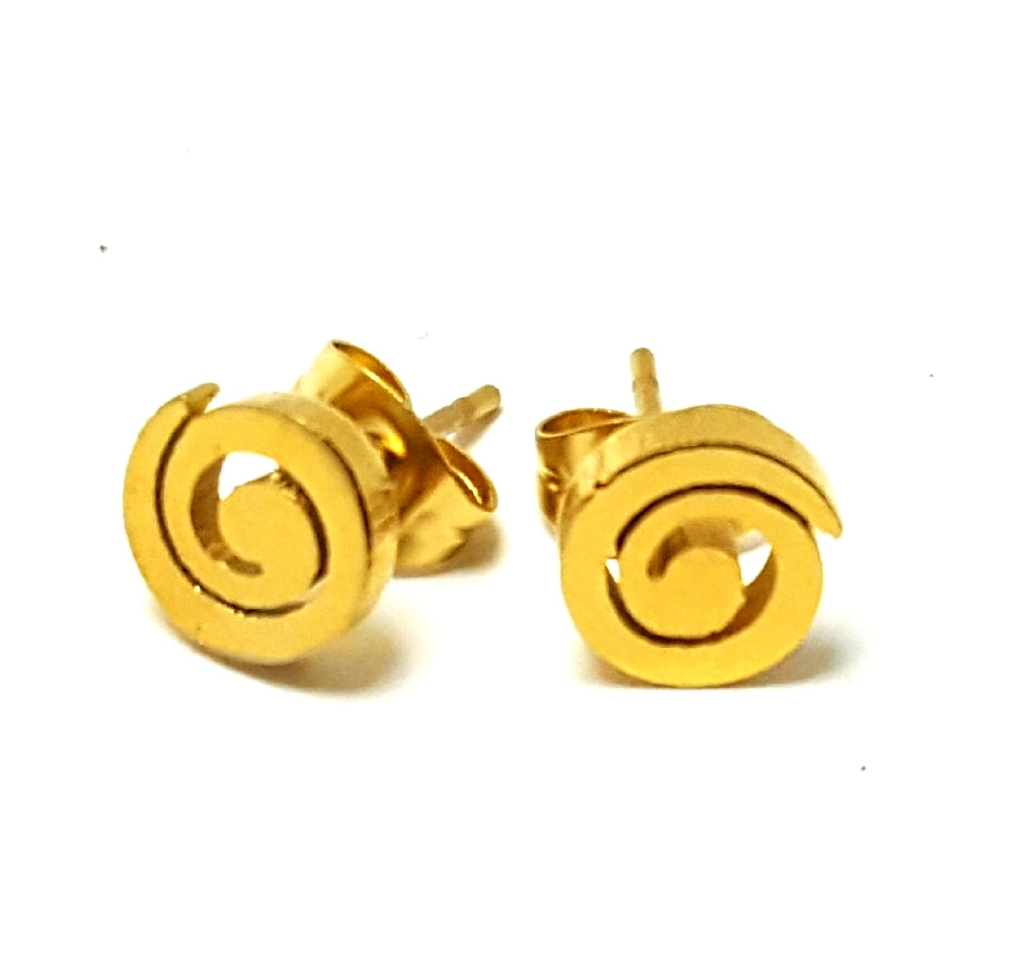 Swirl gold Plated Stainless Steel Post Earrings |Gold - Lunga Vita Designs