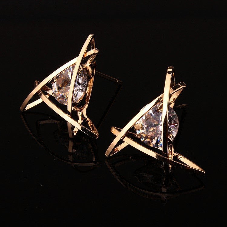 Cage Post Earrings with Clear Cubic Zirconia Mounted Inside Triangle | Gold - Lunga Vita Designs