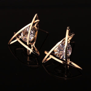 GOLD TRIANGLE CAGE EARRINGS
