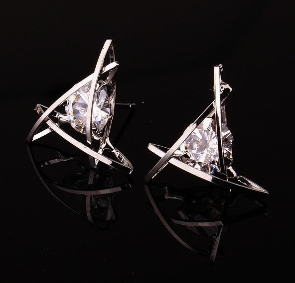 Cage Post Earrings with Clear Cubic Zirconia Mounted Inside Triangle | Silver - Lunga Vita Designs