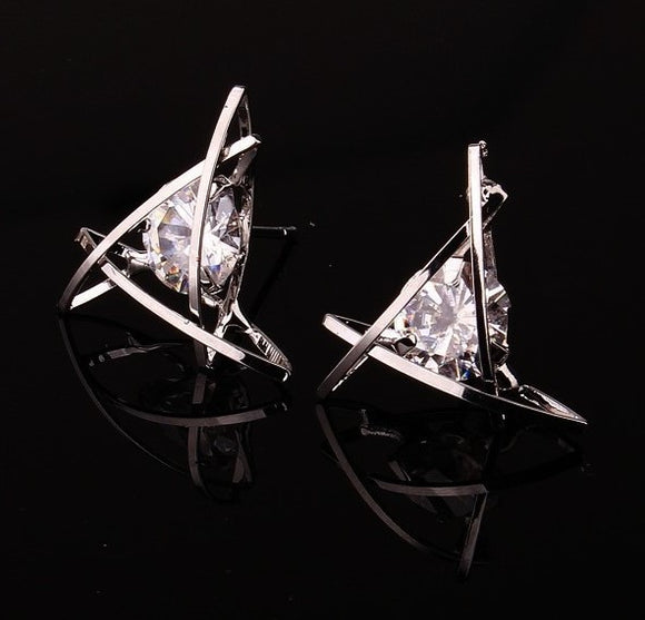 SILVER TRIANGLE CAGE EARRINGS