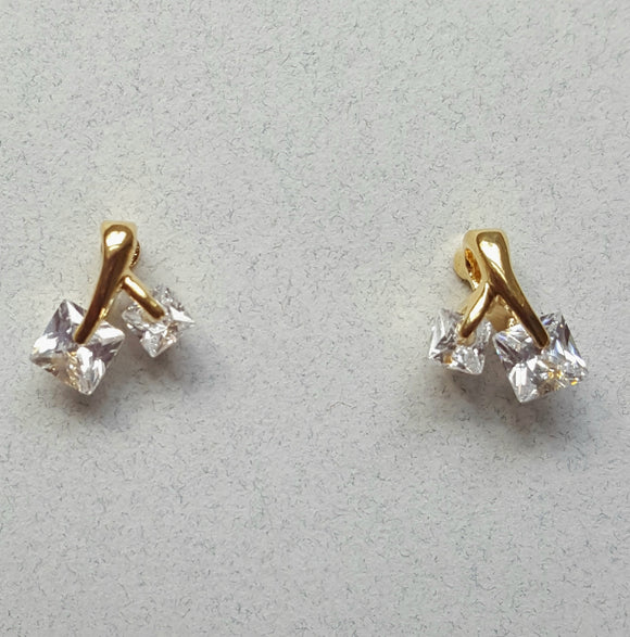 Petite CZ Post Earrings | Gold