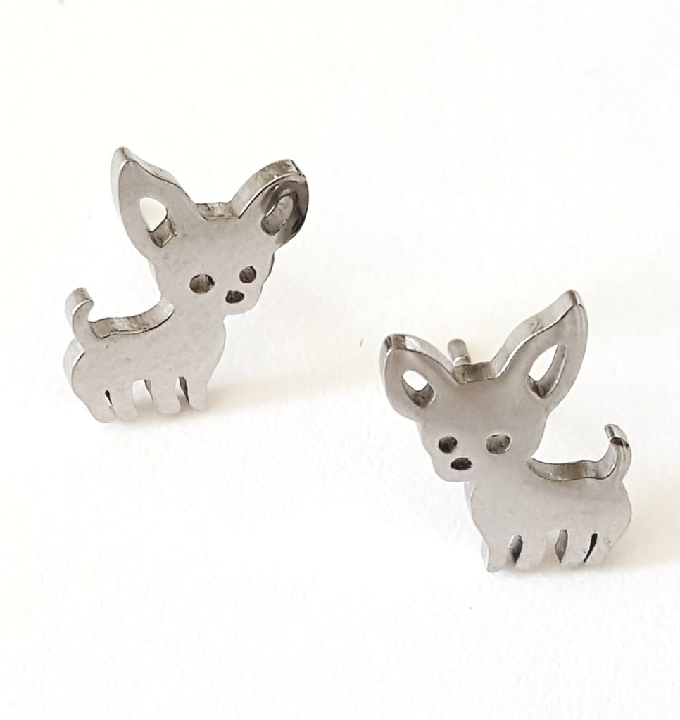 Chihuahua Stainless Steel Post Earrings - Lunga Vita Designs