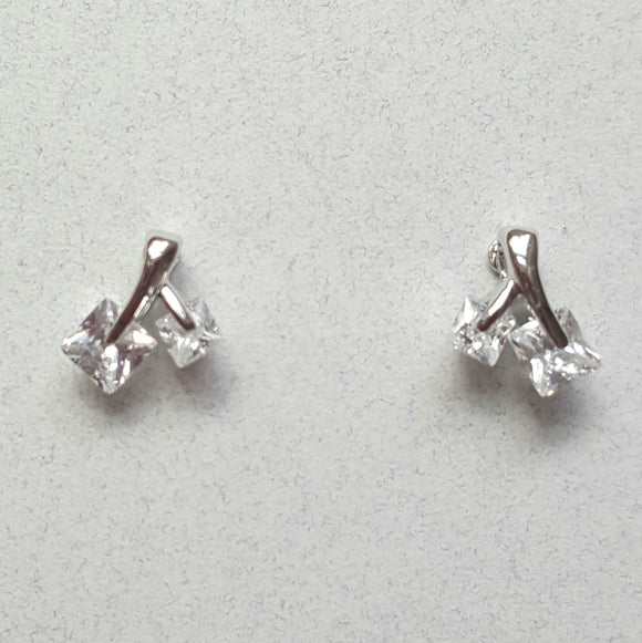 Petite CZ Post Earrings | Silver