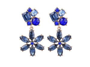 CRYSTAL FLOWER DANGLES | BLUE