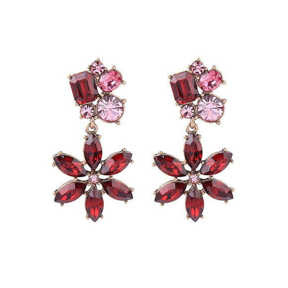 CRYSTAL FLOWER DANGLES | RED