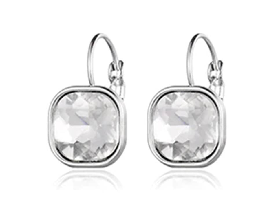 Square Faceted Crystal Lever Back Earrings | Clear - Lunga Vita Designs