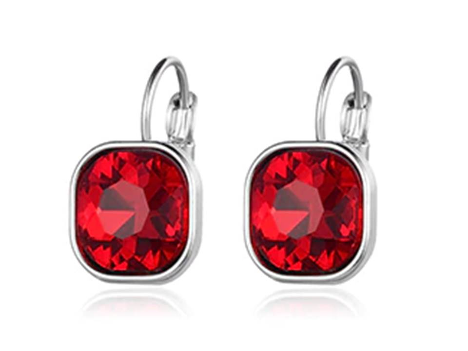 Square Faceted Crystal Lever Back Earrings | Red - Lunga Vita Designs