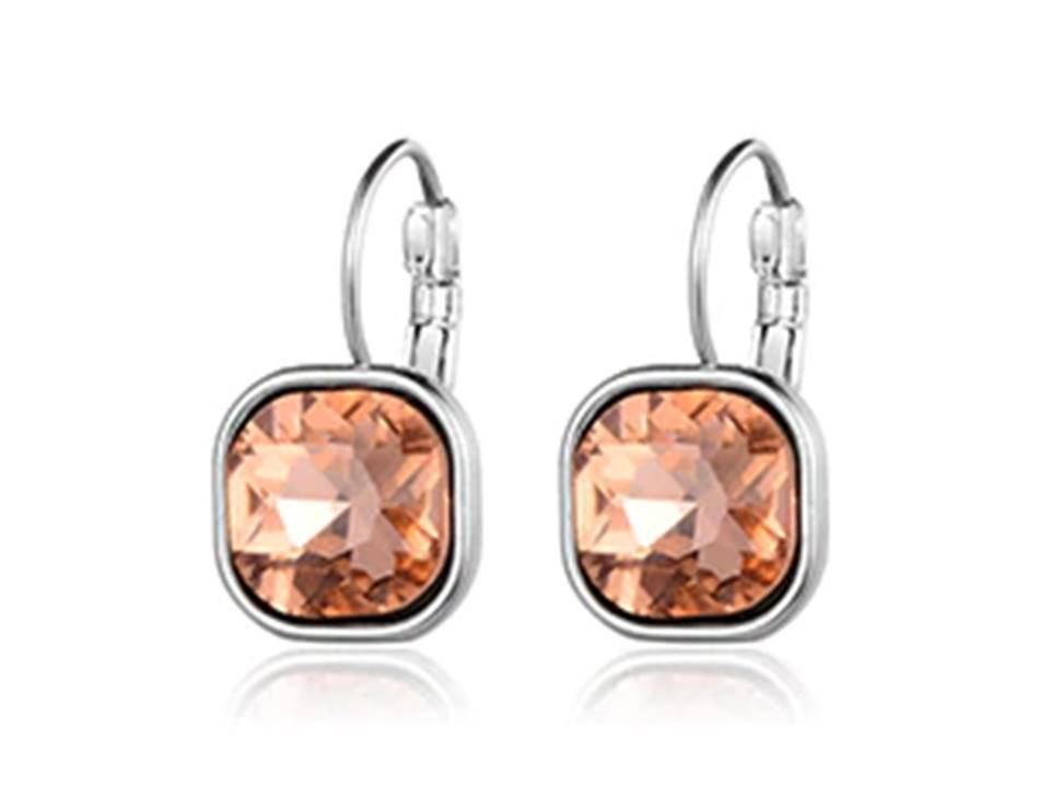 Square Faceted Crystal Lever Back Earrings | Topaz - Lunga Vita Designs
