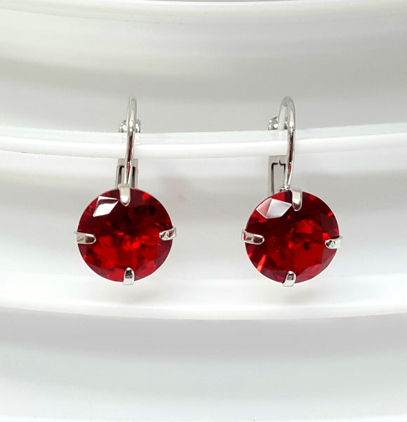 CRYSTAL LEVERBACK EARRINGS | RED
