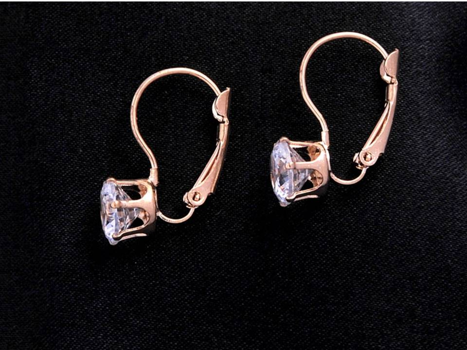 Classic Crystal Lever Back Earrings | Gold-Clear - Lunga Vita Designs