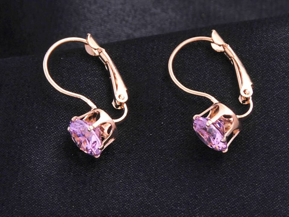 Classic Crystal Lever Back Earrings | | Gold-Pink - Lunga Vita Designs