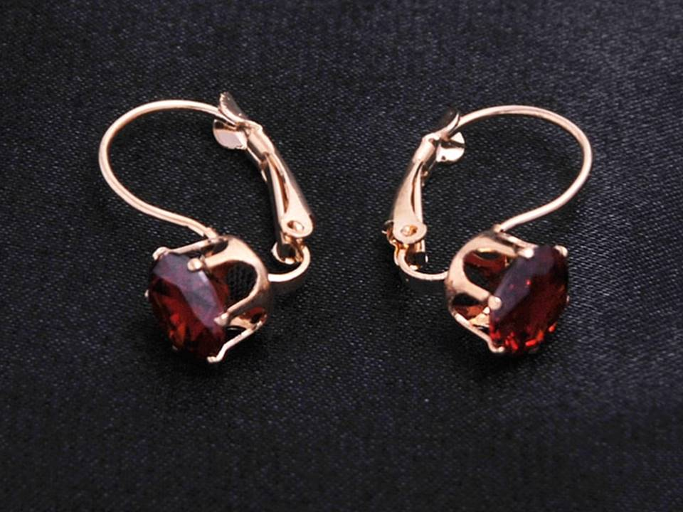 Classic Crystal Lever Back Earrings | Gold-Red - Lunga Vita Designs