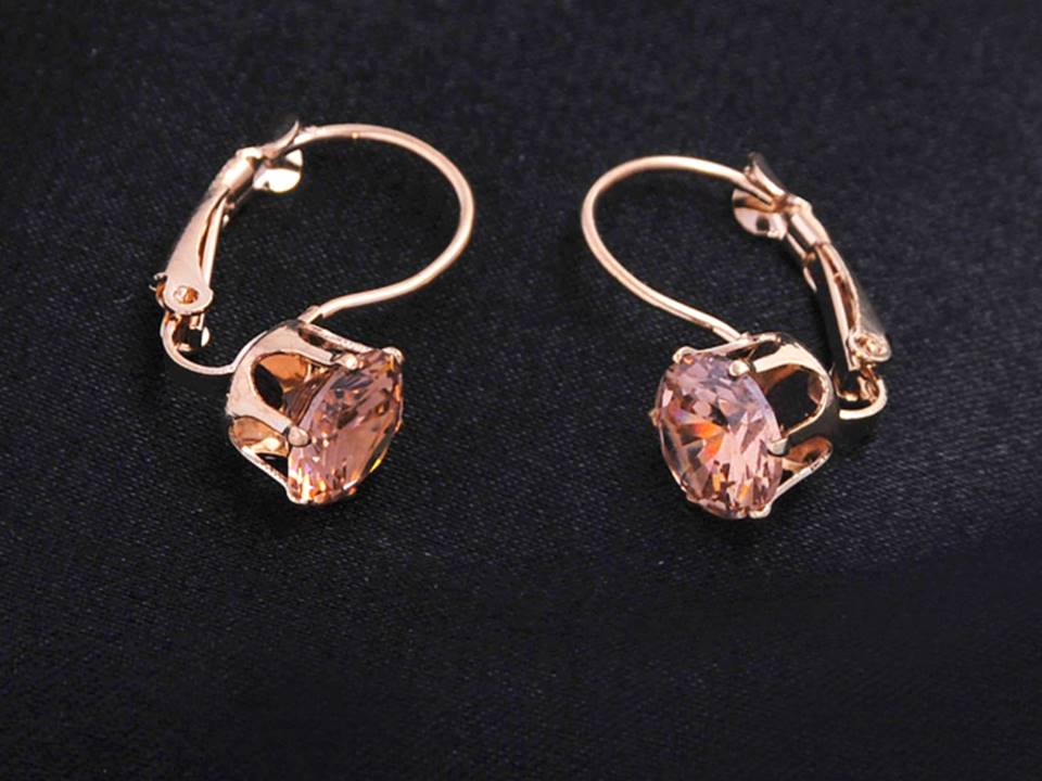 Classic Crystal Lever Back Earrings | Gold-Topaz - Lunga Vita Designs
