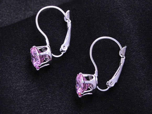 Classic Crystal Lever Back Earrings | Silver-Pink - Lunga Vita Designs