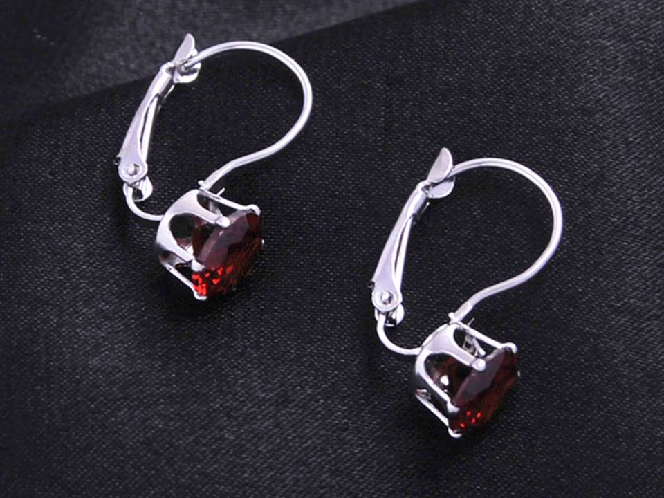 Classic Crystal Lever Back Earrings | Silver-Red - Lunga Vita Designs