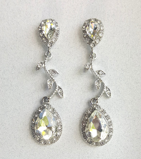 DELICATE VINE CRYSTAL EARRINGS | SILVER