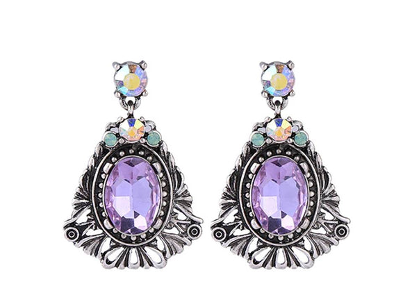 TEXTURED DRESSY CRYSTAL DANGLE EARRING | VIOLET