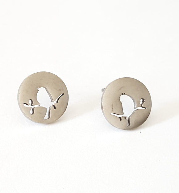 BIRD ON A BRANCH POST EARRINGS