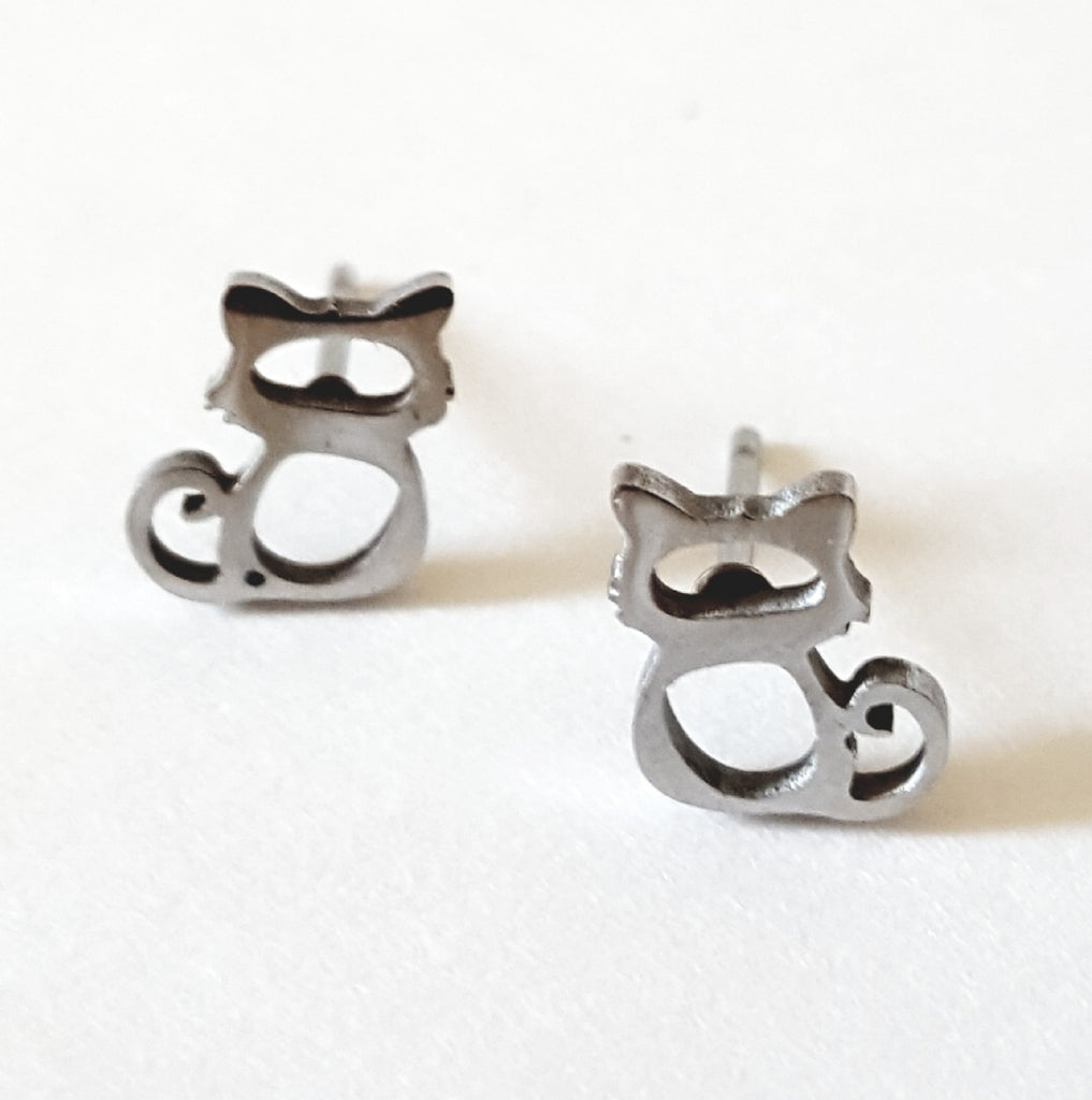 Stainless Steel Cut-Out Cat Silhouette Post Earrings - Lunga Vita Designs