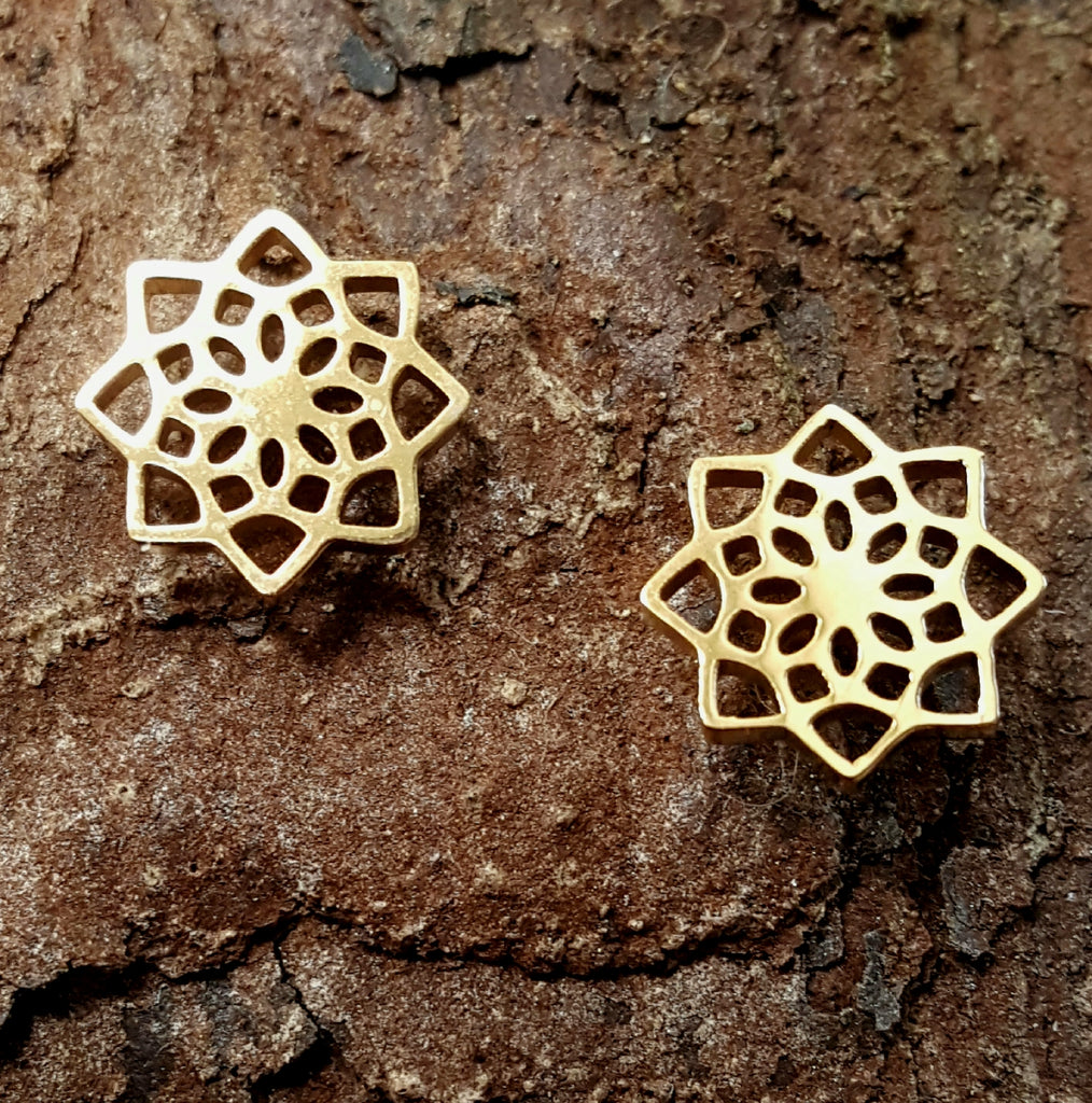 Flower Post Stainless Steel Earrings | Gold Plated - Lunga Vita Designs