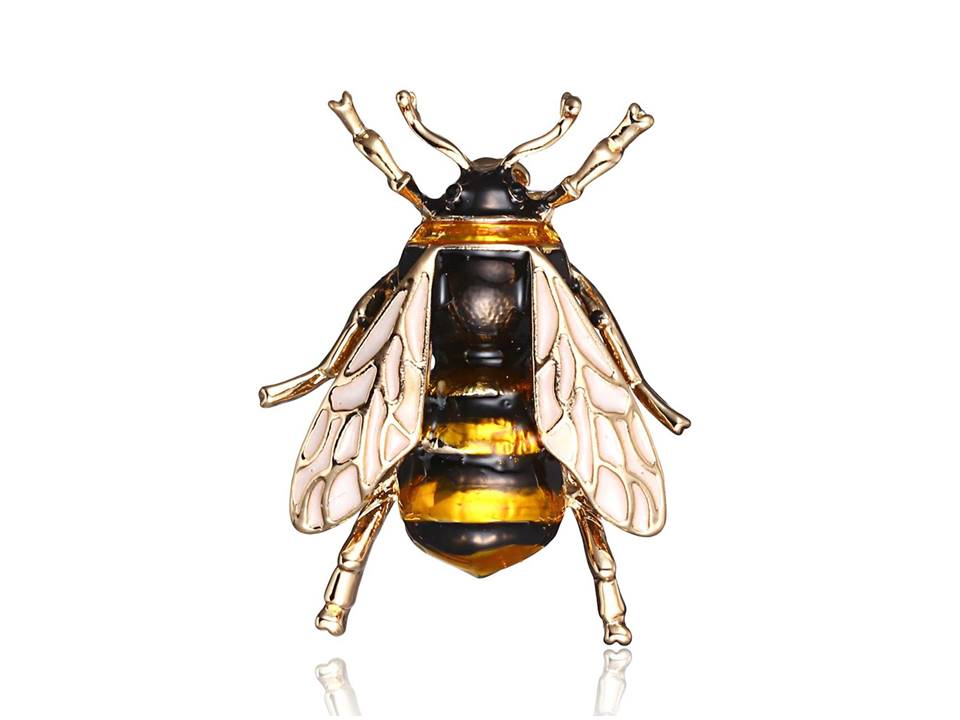 Colorful Small Enamel Bee Brooch | Golden Yellow - Lunga Vita Designs