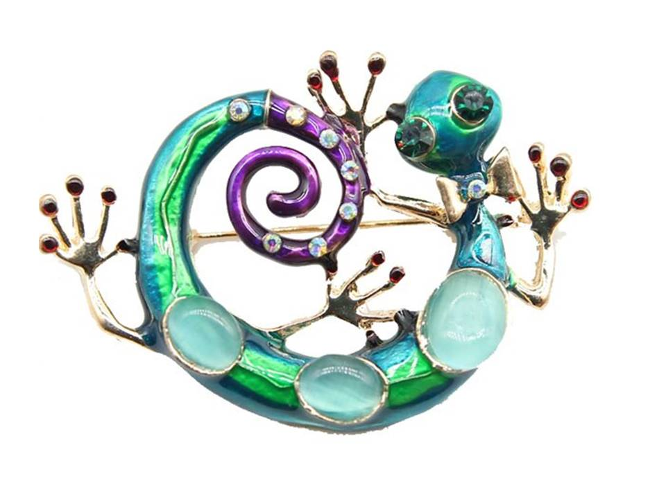 Brilliantly Colored Gecko Brooch - Lunga Vita Designs