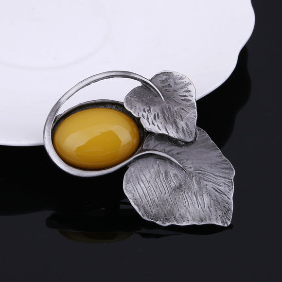 Matte Silver Leaves with Yellow Accent Brooch