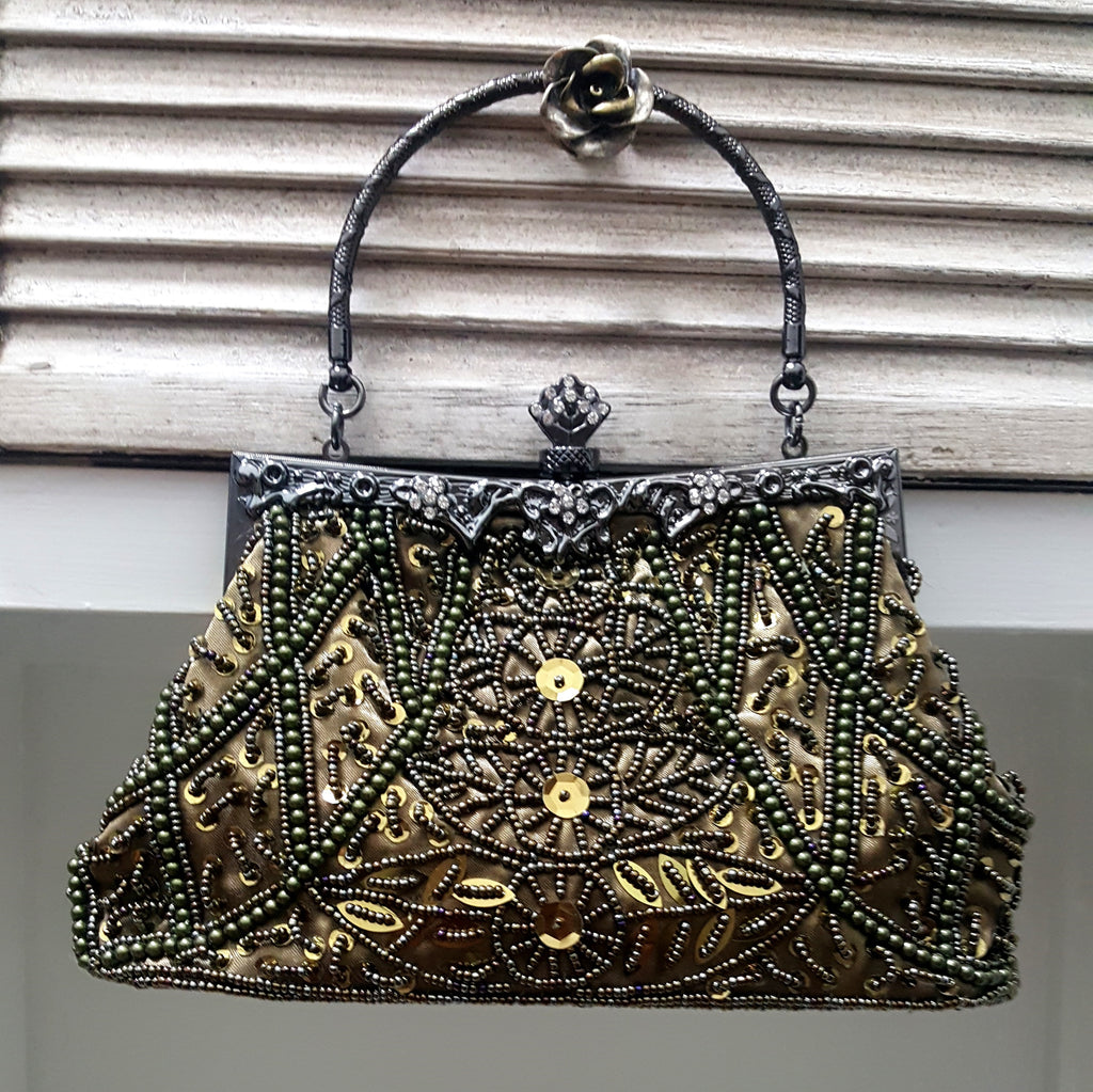 Bronze Beaded  Bag - Lunga Vita Designs