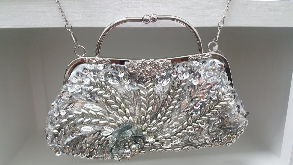Beaded and Sequined Silver Clutch Handbag - Lunga Vita Designs
