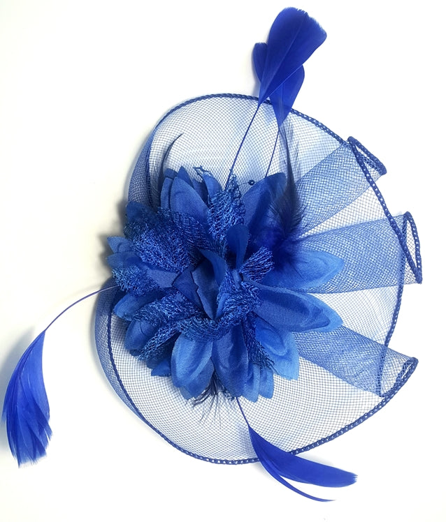 Blue Flower and Feather Fascinator - Lunga Vita Designs