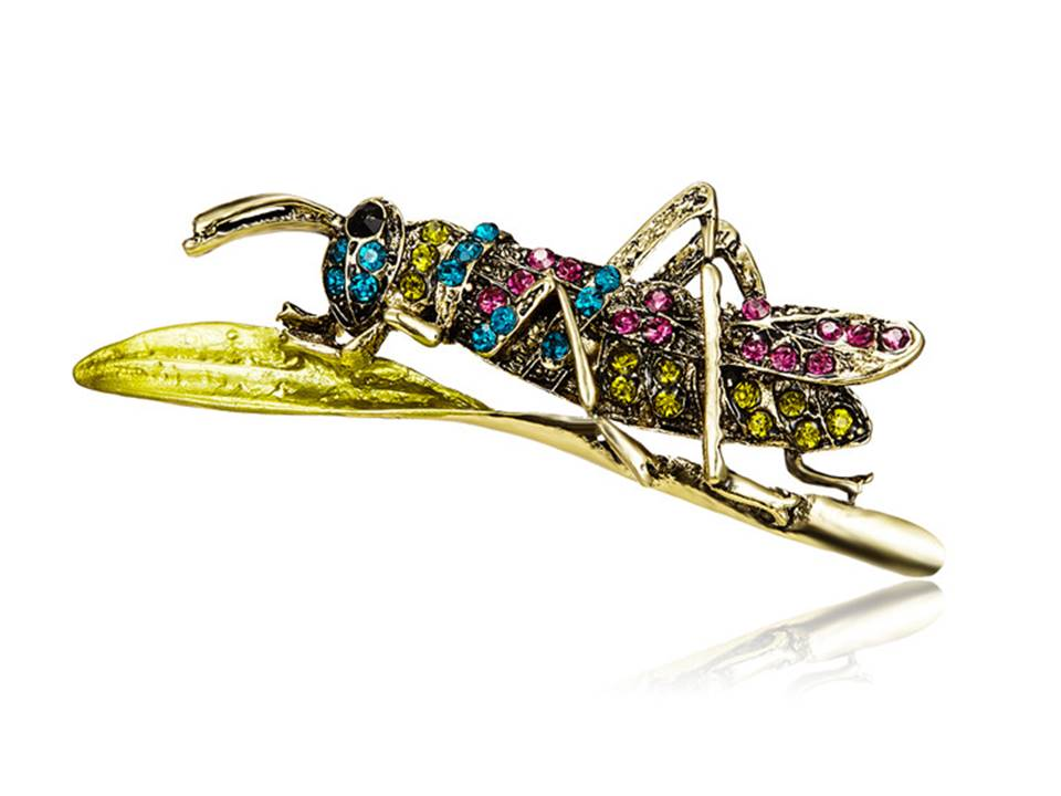 Multicolor Rhinestone Grasshopper Brooch - Lunga Vita Designs