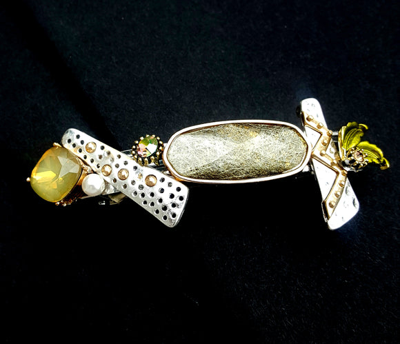 MIXED METAL AND RESIN HAIR BARRETTE