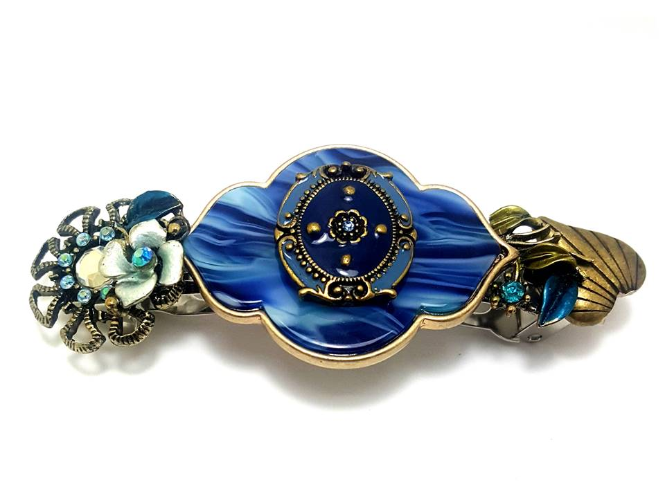 Cobalt Resin with Mixed Jewels and Flowers | Hair Barrette - Lunga Vita Designs