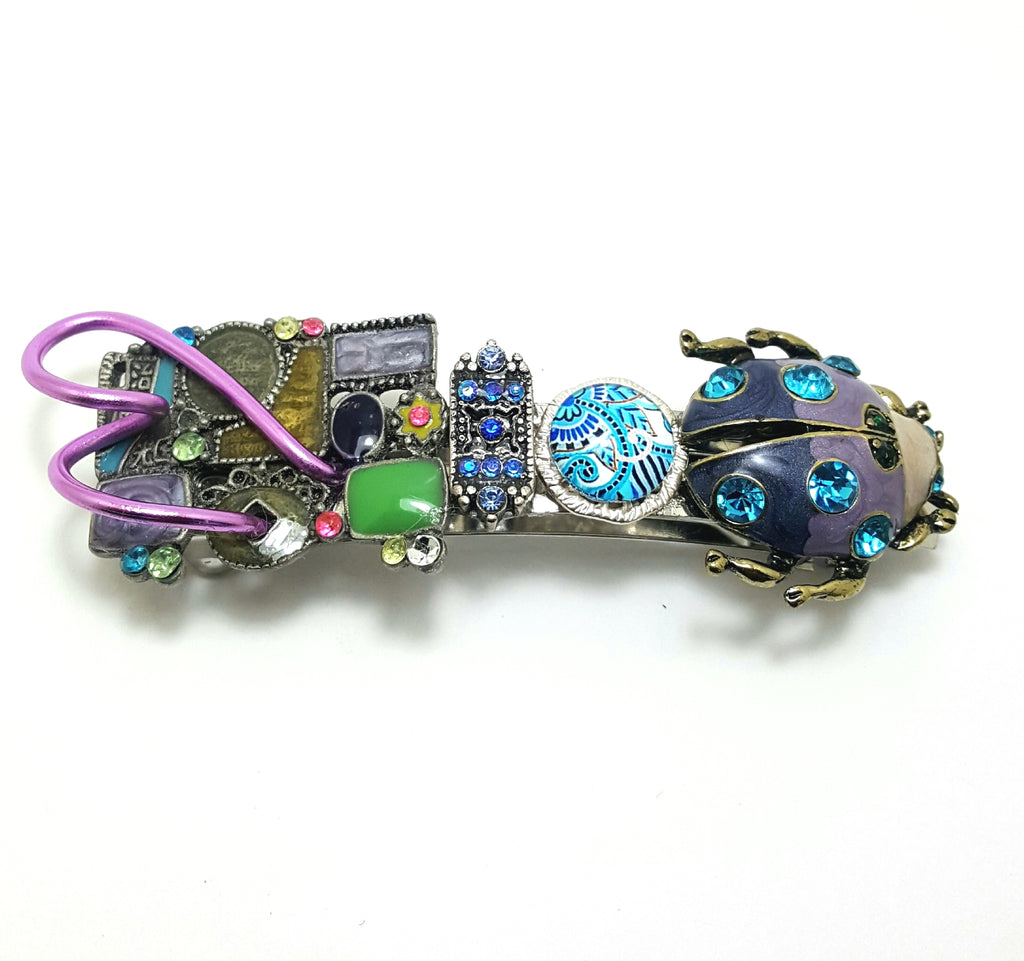 Aqua Beetle with Patchwork Enamel | Hair Barrette - Lunga Vita Designs