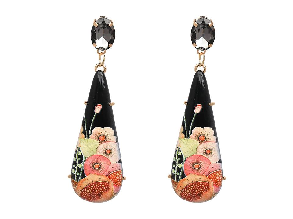 Long Resin Floral Teardrop Dangle Earrings | Black - Lunga Vita Designs