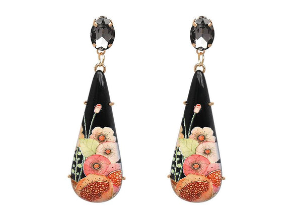 LONG RESIN FLORAL TEARDROP DANGLE EARRINGS | BLACK