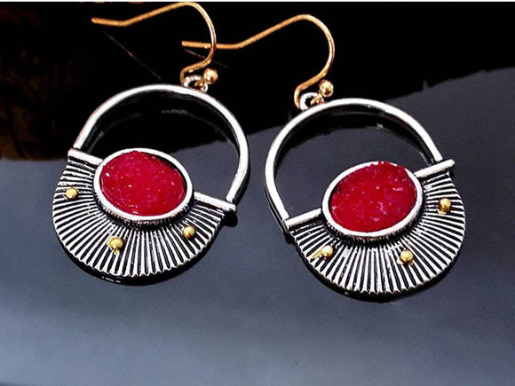 HALF CIRCLE FAN EARRINGS