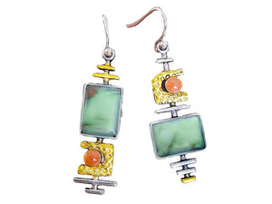 Asymmetrical Pale Green Resin Dangle Earrings - Lunga Vita Designs