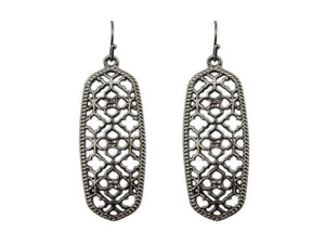 NARROW FILIGREE DANGLE EARRINGS | GUNMETAL