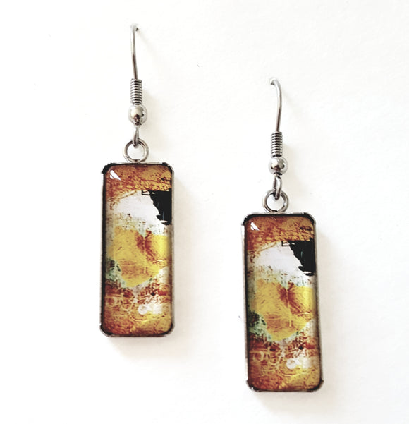 RECTANGULAR GLASS EARRINGS
