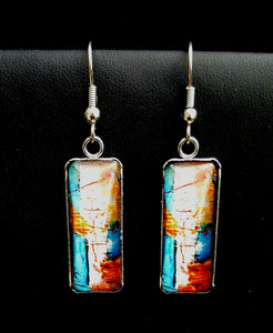 Rectangular Glass & Stainlee Steel Dangle Earrings - Lunga Vita Designs