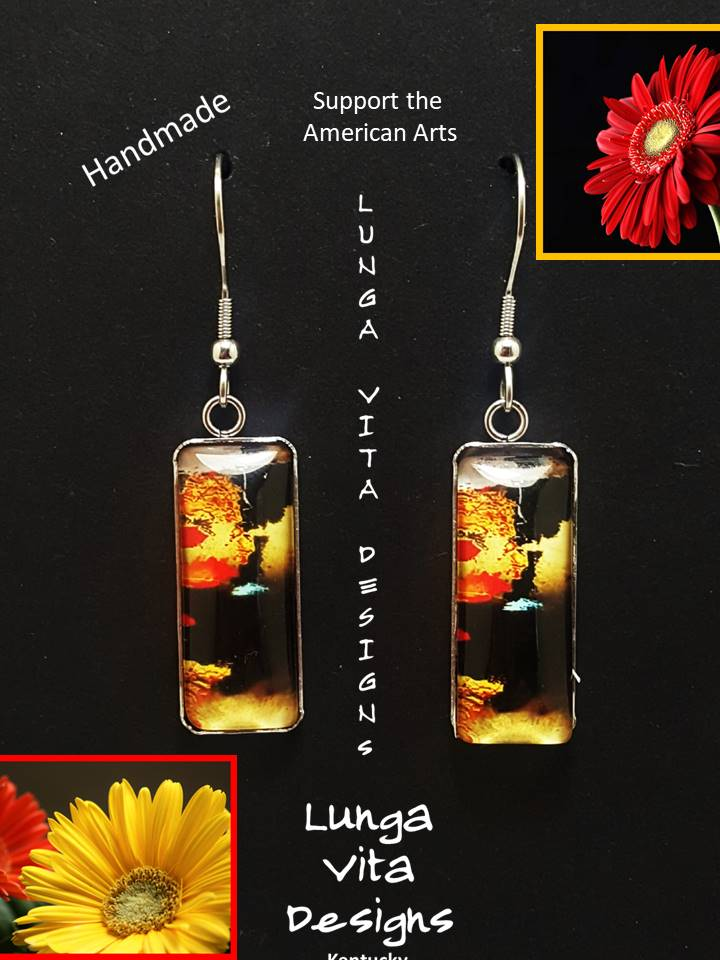 Rectangular Glass & Stainless Steel Dangle Earrings - Lunga Vita Designs