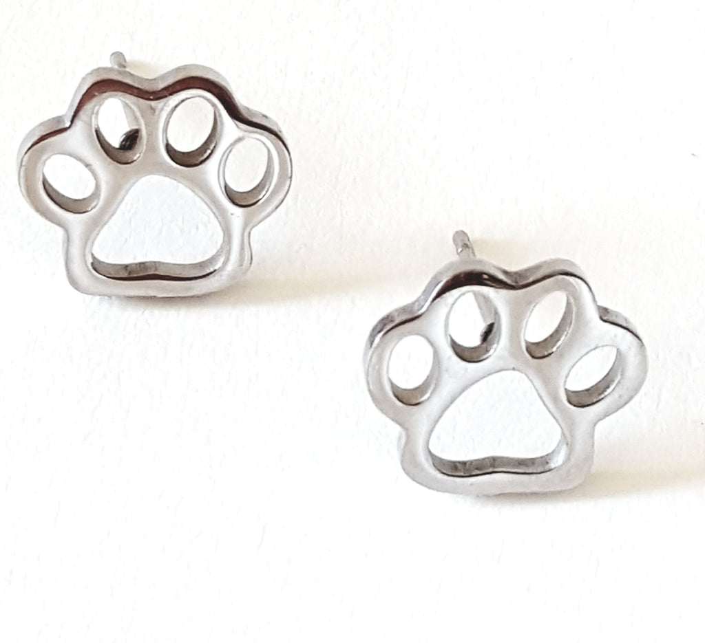 Paw Stainless Steel Post Earrings - Lunga Vita Designs