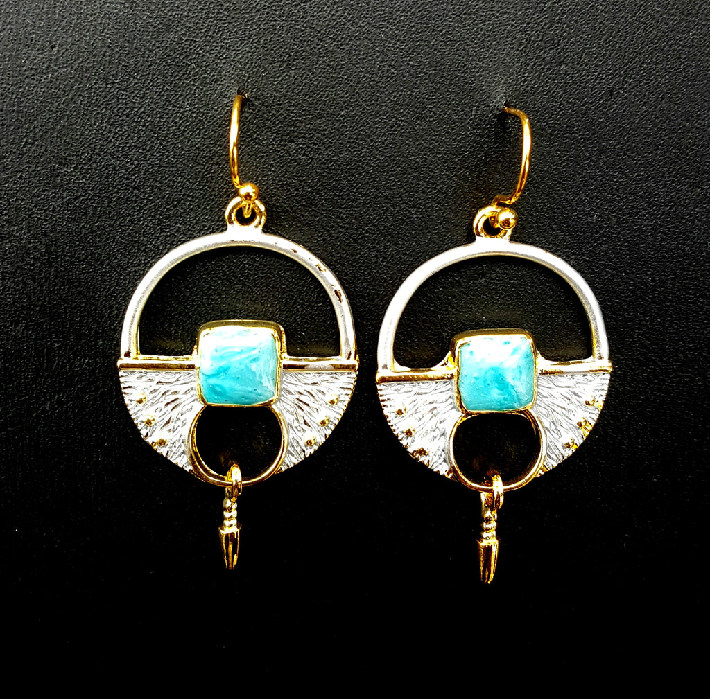 Aqua Enamel Earrings - Lunga Vita Designs