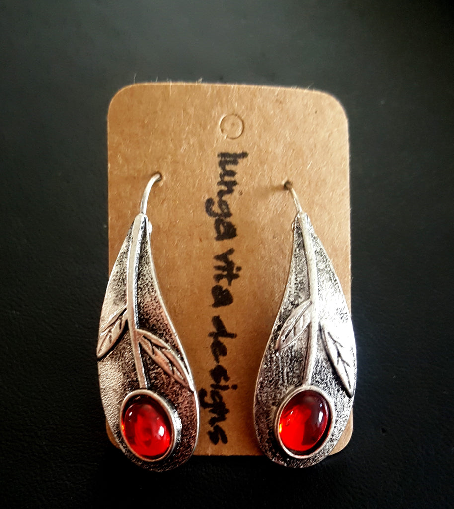 Curved Silver Leaf with Red Oval Crystal Earrings - Lunga Vita Designs