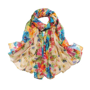 BRIGHT FLORAL SCARF | BEAUTIFUL BEIGE