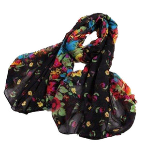 BRIGHT FLORAL SCARF | BLACK